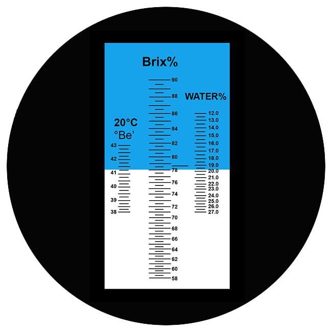 Покази рефрактометра у випадку діоптричної олії 78% Brix