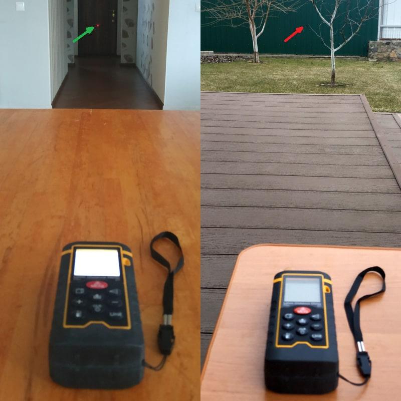 Лазерний далекомір в приміщенні і на вулиці