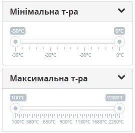 Вибір діапазону вимірюваних температур